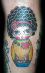Los tatuajes de muñecas japonesas kokeshi